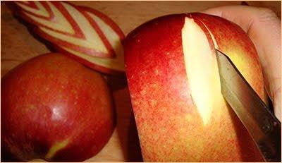 карвинг на ябълка - лява и дясна страна