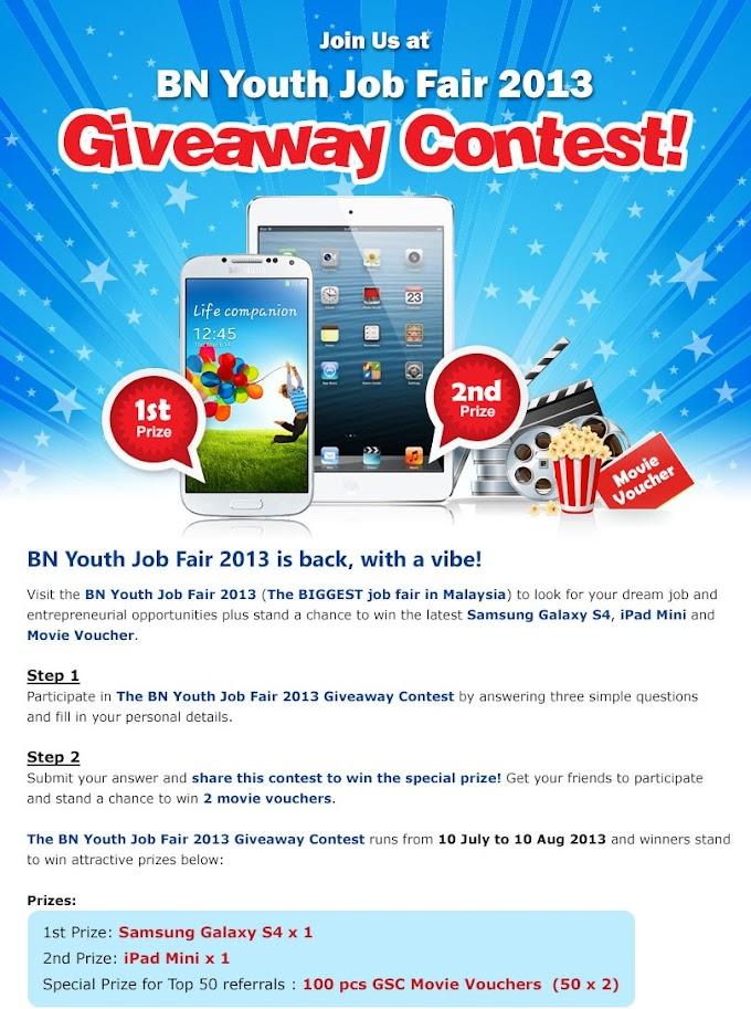 BN Youth Job Fair boleh menang Samsung Galaxy S4 dan Ipad Mini usha ni!