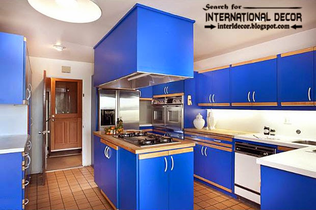 how to choose best kitchen colors 2015, modern blue kitchens designs