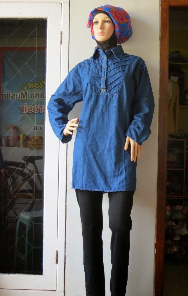 Atasan Jeans Jumbo Aj940 Grosir Baju Muslim Murah Tanah