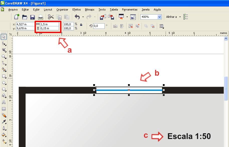 Configurando r gua e escala no corel draw ideiaclip for Muebles a escala 1 50 para planos