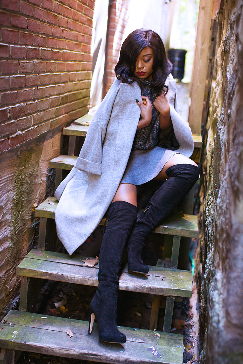 Skate skirt, zara grey coat, Sam edelman over the knee boots, www.jadore-fashion.com
