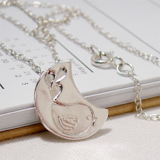 Silver Moon Bird Pendant Necklace
