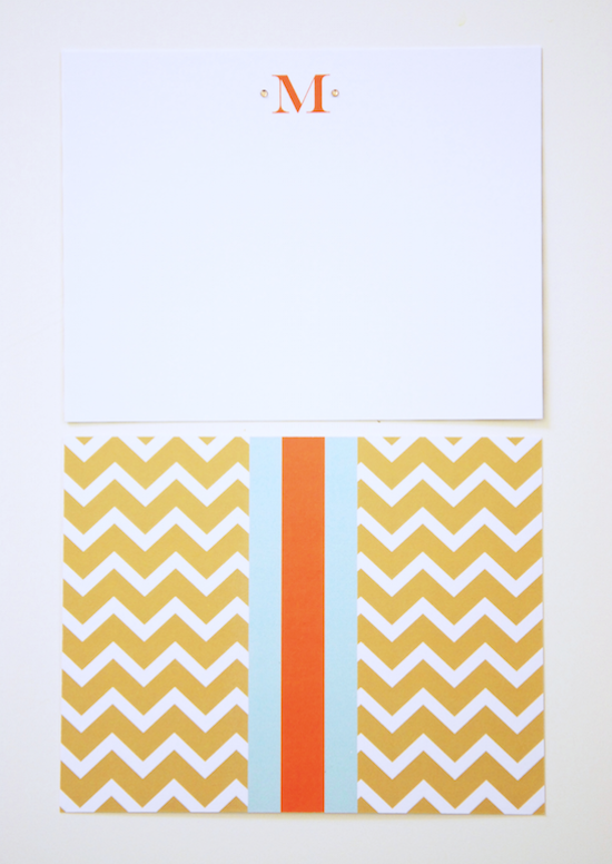 chevron monogram initital stationery set