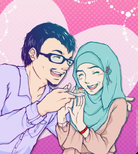 Gambar Kartun Cantik Islami Couple