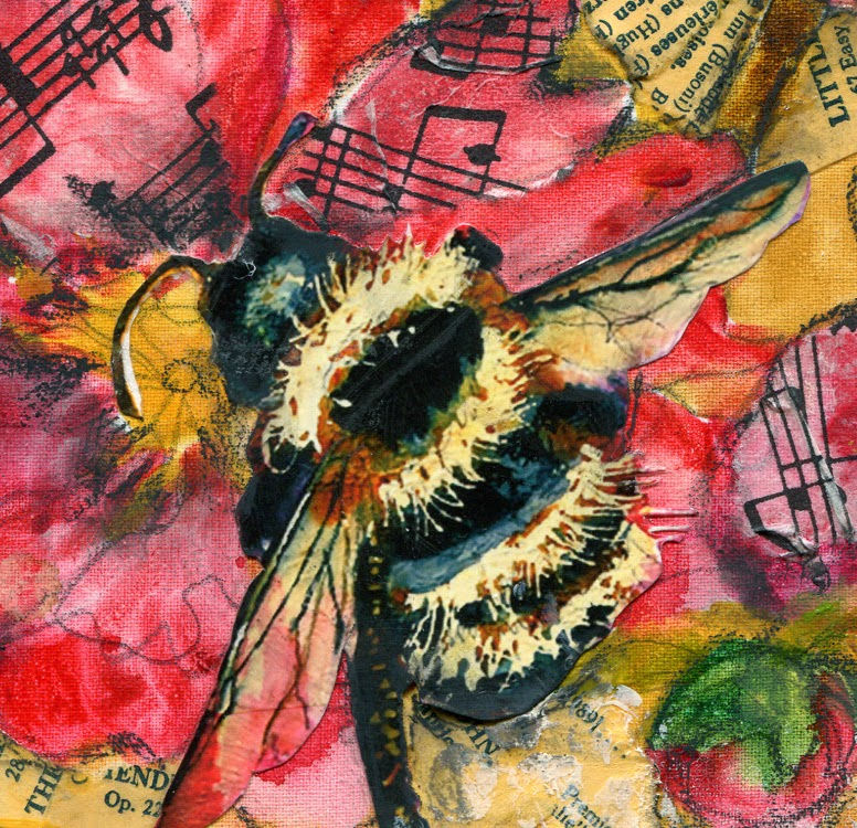 mixed media collage art detail of bee on peony flower