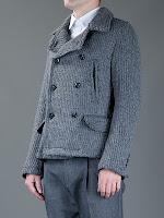 Dolce & Gabbana Gri Örme Yün Erkek Kabanı