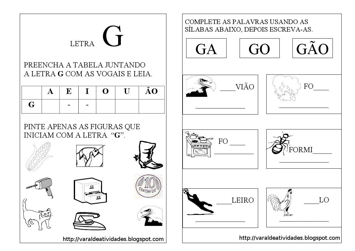 Famosos Pedagogia Século XXI: Atividades letra G JX97