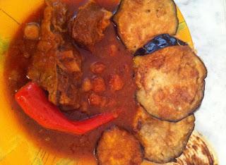Recette de Le Mderbel ou Râgout d'aubergines frites à la viande