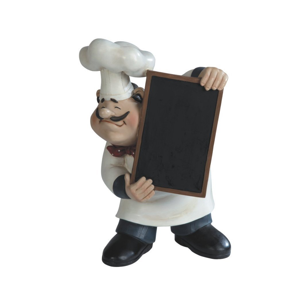 French Chef Kitchen Decor - Fat chef statue 11 italian fat chef figurine with menu chalkboard