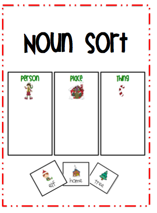Noun Picture Cards Noun sort: picture cards with