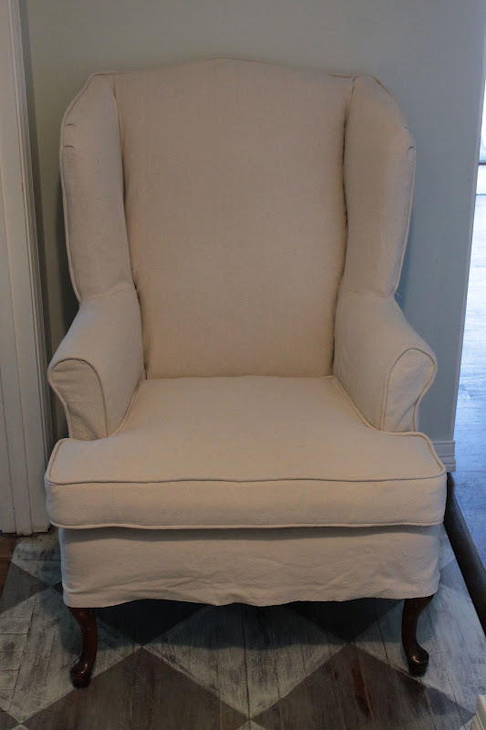 vanhook co slipcovered wingback chair