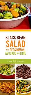 Black Bean Salad with Fuyu Persimmon, Avocado, and Lime-Cumin Vinaigrette found on KalynsKitchen.com