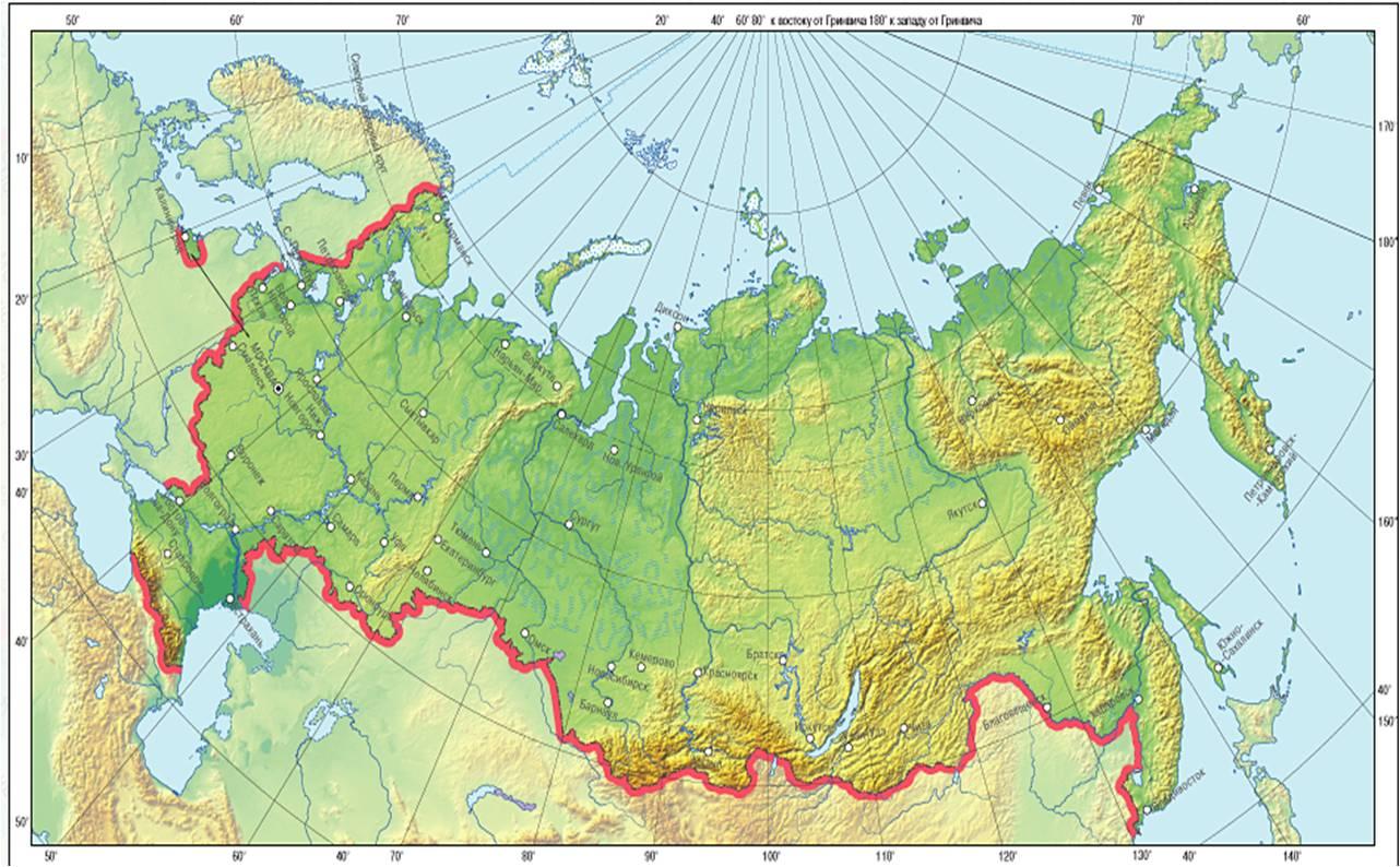 Контурная карта России для