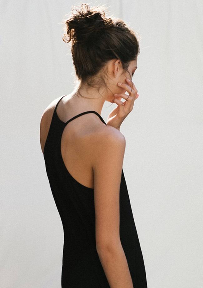 simple cool black cami silver ear cuff
