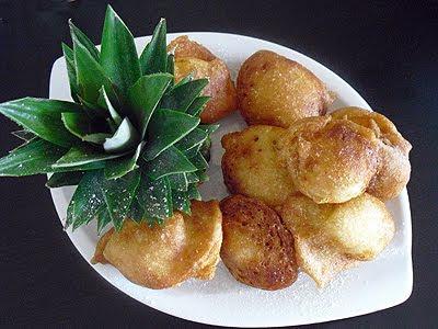 Beignets d'ananas au Mei Kuei Lu Chiew