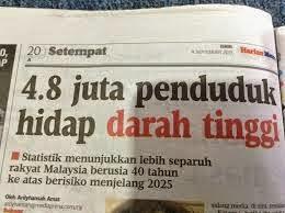 4 8 Juta Rakyat Malaysia Penghidap Darah Tinggi