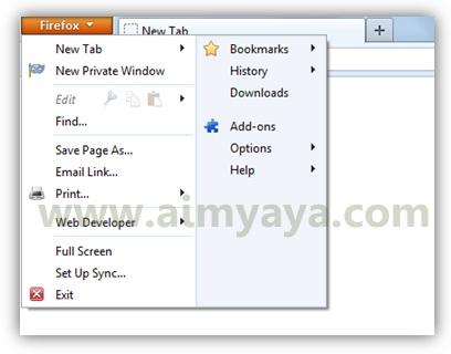 Gambar: Contoh pengaksesan tombol Firefox pada Mozilla Firefox