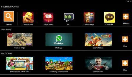 Tampilan menu Aplikasi yang sudah terinstall dan aplikasi recomended pada emulator bluestacks