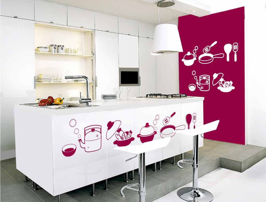 Decoraci n f cil decorar la cocina con vinilos for Pegatinas de pared ikea