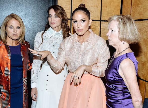 Katie Couric, Queen Rania of Jordan, Jennifer Lopez and Kathy Calvin, President and CEO, UN Foundation attend the UN Foundation's Gender Equality Discussion