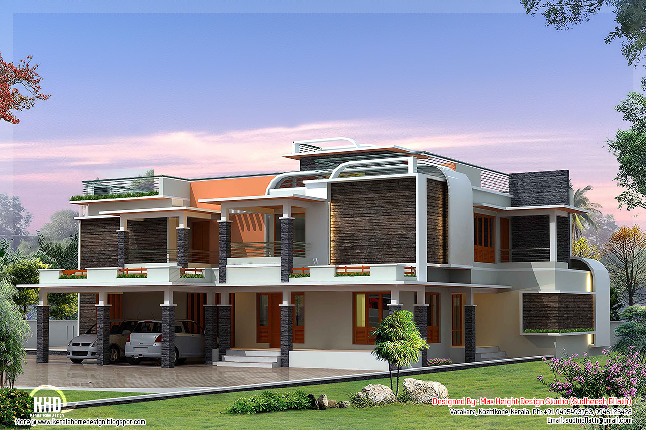 Unique modern villa design kerala home for Modern luxury villa design