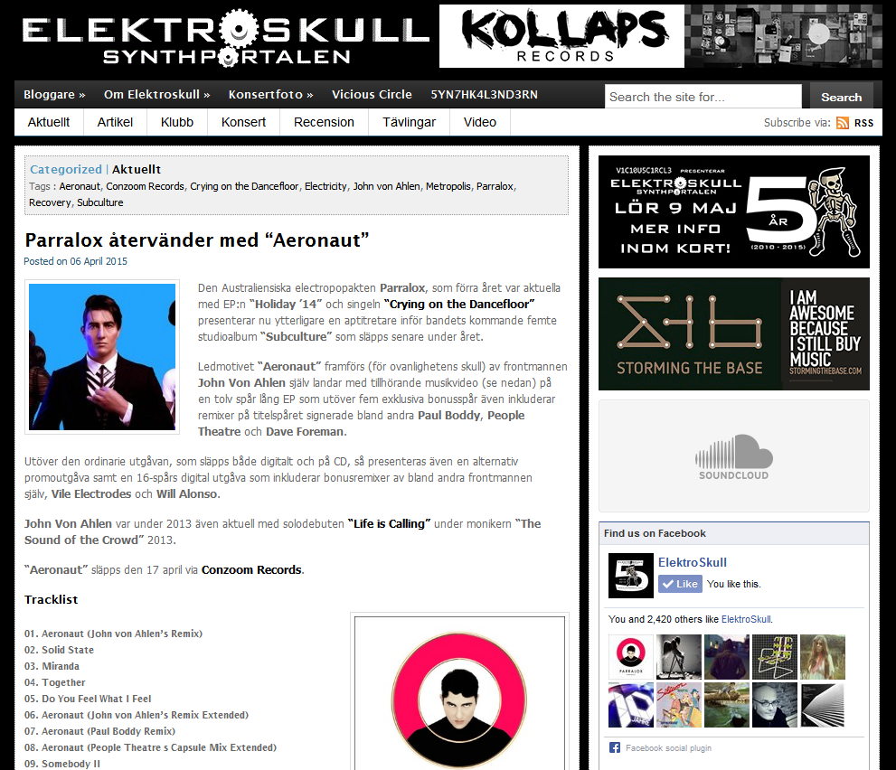 Elektroskull (Sweden) article on Aeronaut (Limited Edition CD)