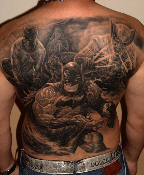 Batman Full Back Tattoo