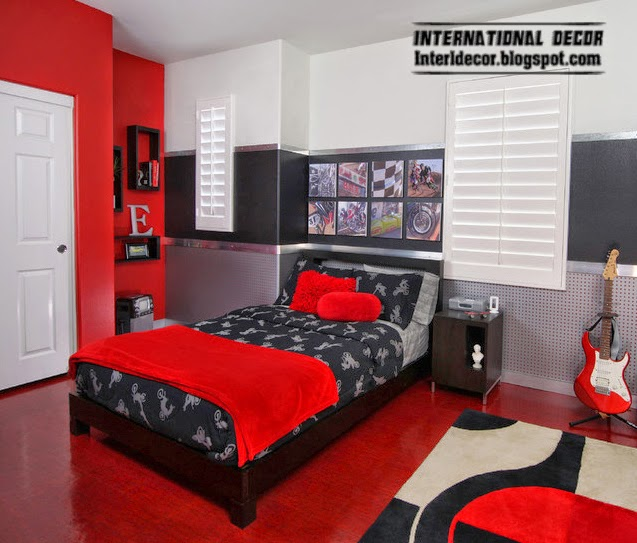 decorate with red, red in bedroom floor