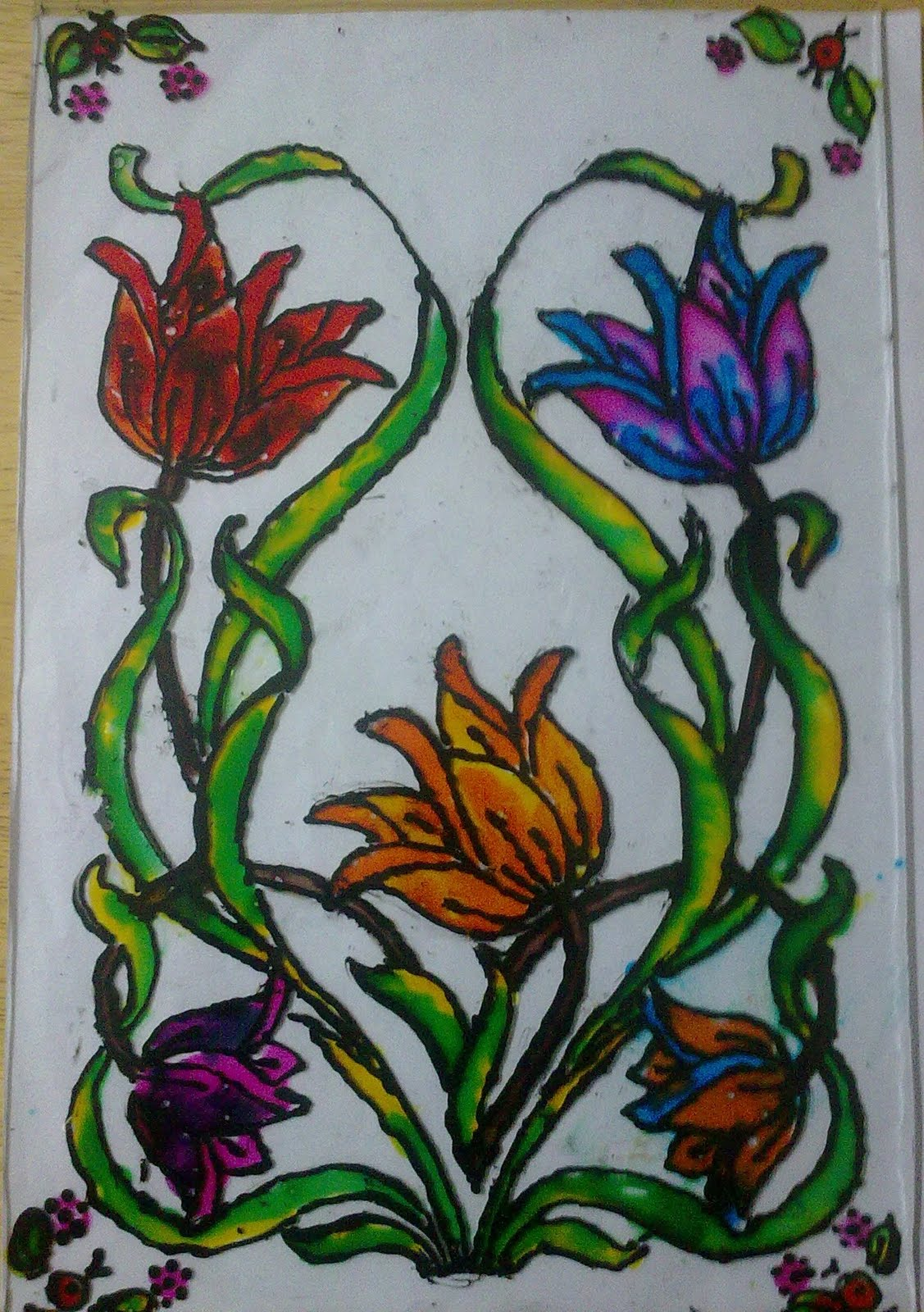 Farah art creations glass painting workshop conducted for for Best glass painting designs
