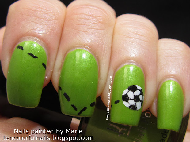 ten colorful nails world cup soccer