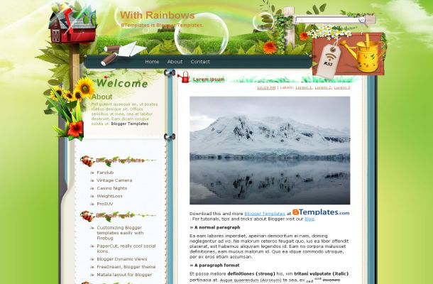 Free Blogger Rainbow Green Nature Theme Template