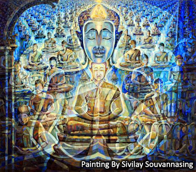 Painting by Lao artist/painter Sivilay Souvannasing - Buddha