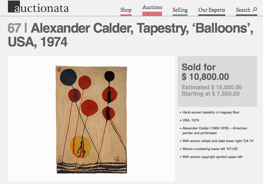 Misattributed Alexander Calder Tapestry sold for $10.8K NOT created by Alexander Calder