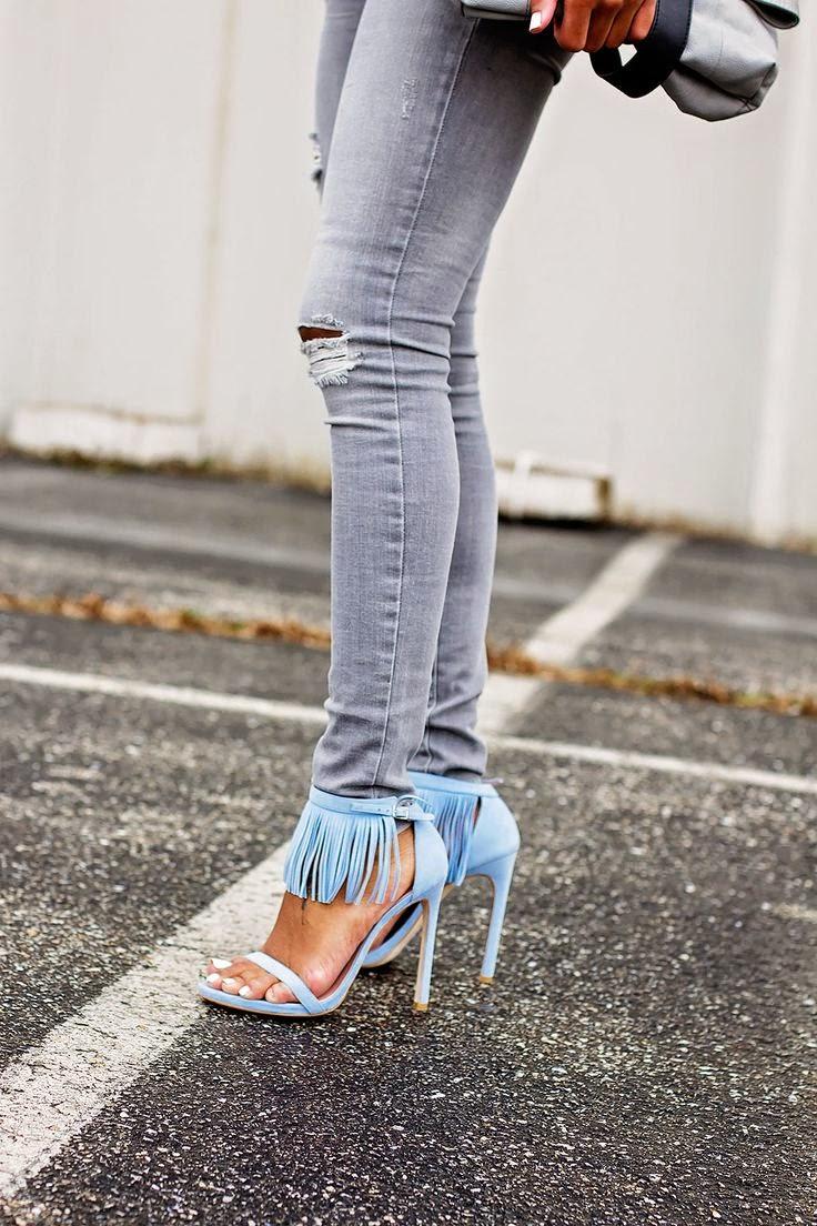 Fringe trend, heels, ankle strap sandals