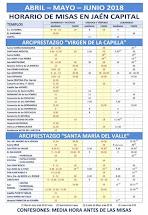 Horarios de Misa en Jaén Capital