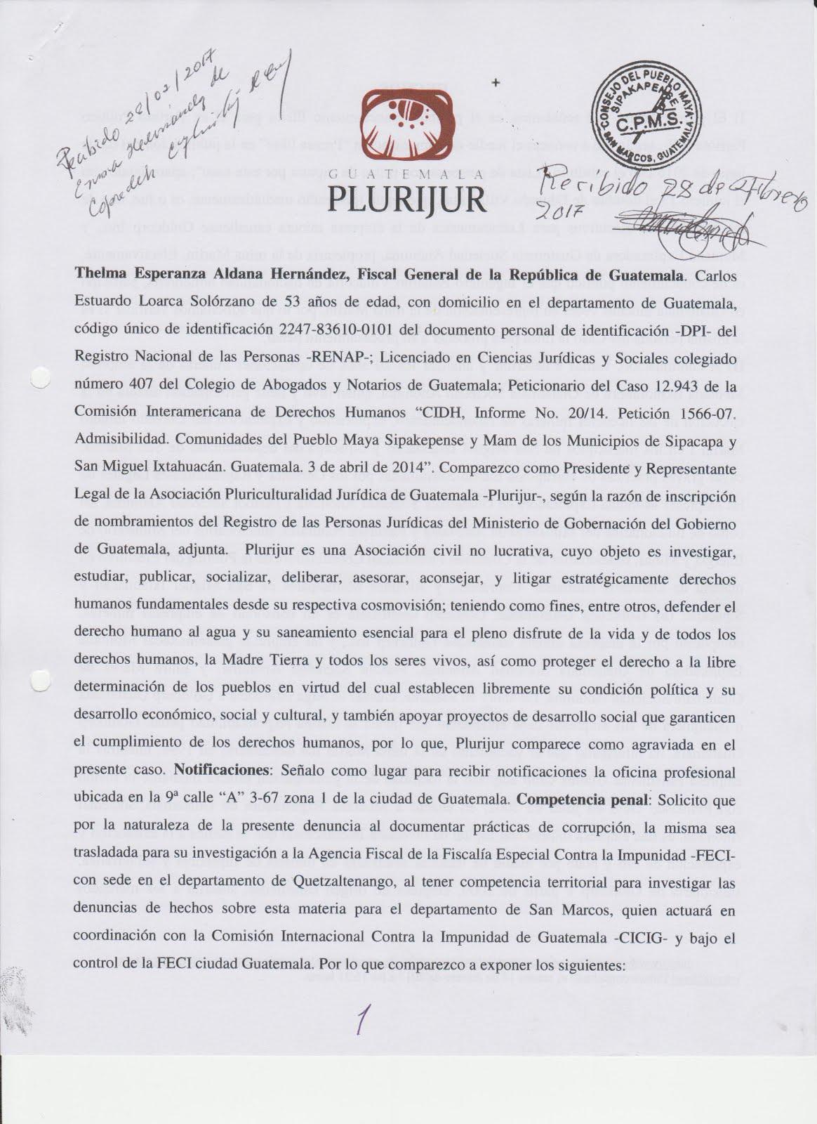 Denuncia ante la Fiscal General contra la MINA MARLIN