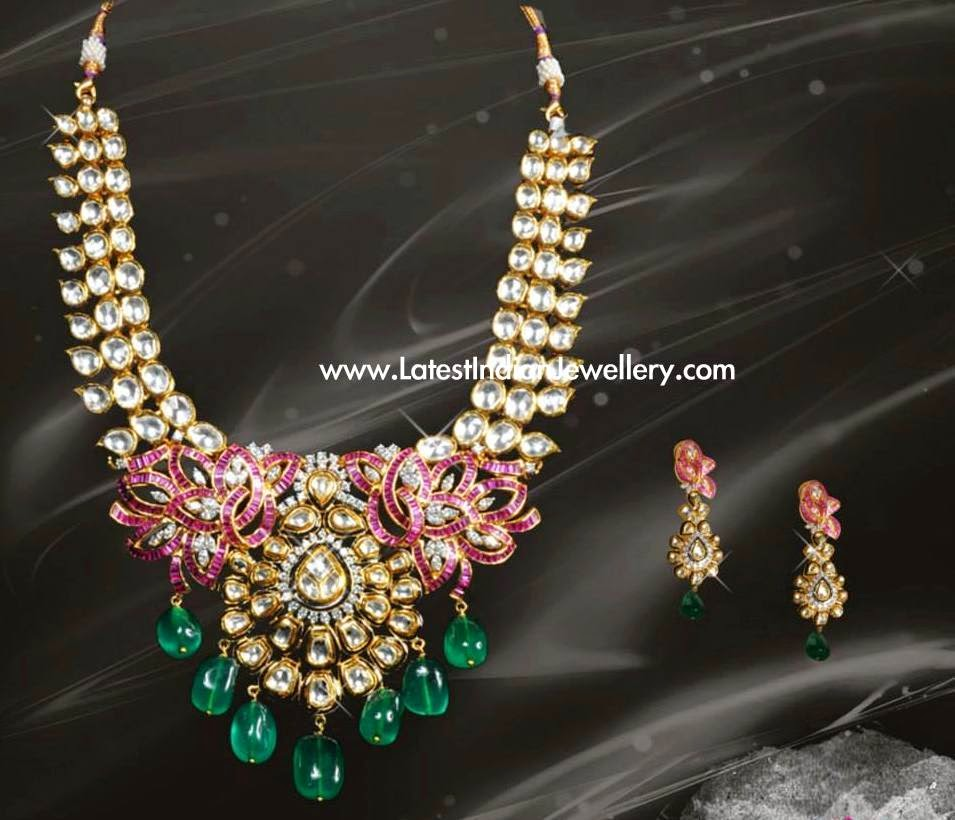 Kundan Ruby Designer Gold Necklace
