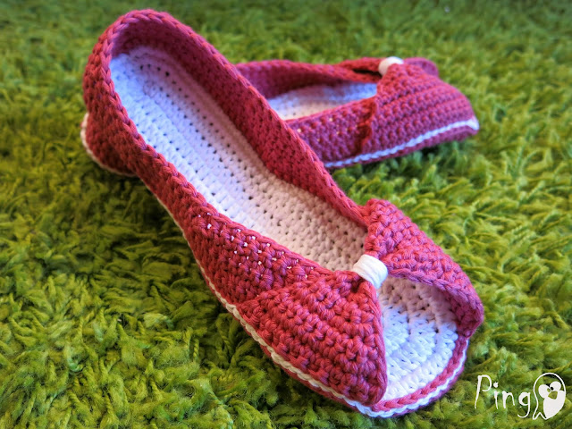 Princess Slippers, crochet pattern by Pingo - The Pink Penguin