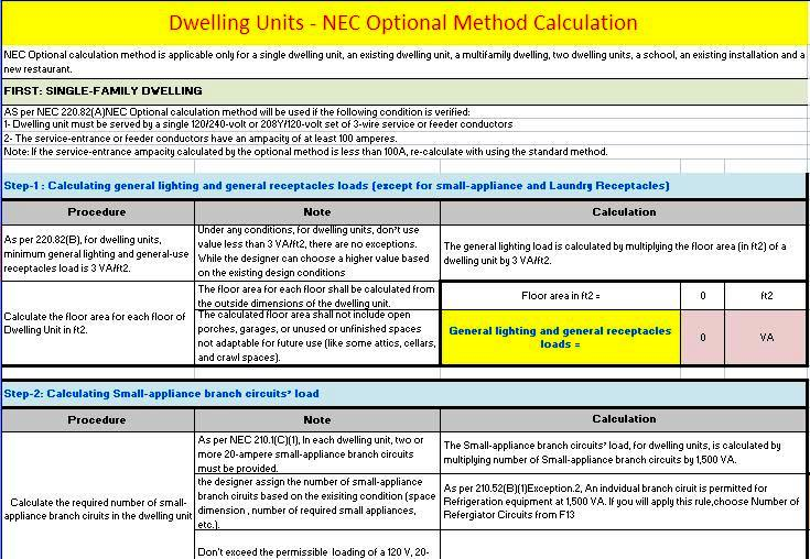 Optional electrical load calculator for dwelling units electrical for calculating the total demand load for single two family multi family dwelling units and existing dwelling as per nec optional calculation method greentooth Images