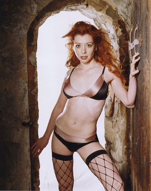 Alyson Hannigan in Lingerie and Fishnets - Stephen Danelian Photoshoot - 2003