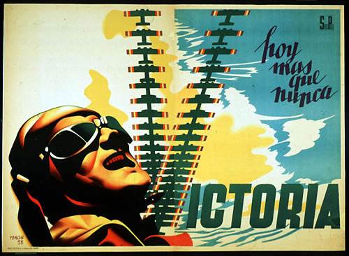 cartel de la guerra civil española que dice hoy mas que nunca victoria