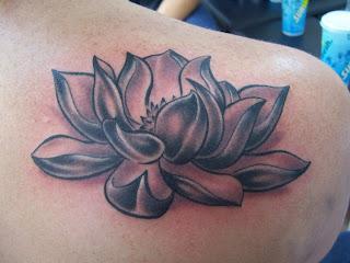 Lotus tattoo black and white