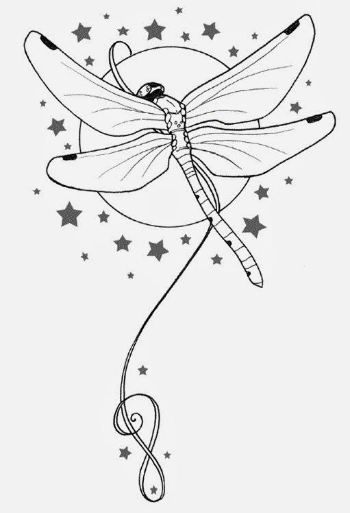 Dragonfly and stars tattoo stencil