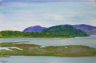 watercolor painting by Jennifer Kistler Columbia River Cathlamet Bay view copyright 2012