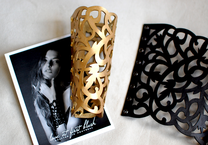 loveatfirstblush customized gold cuff, art nouveau leather