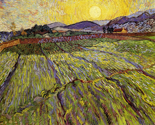 Wheat Field with Rising Sun -- 1889 -- Van Gogh