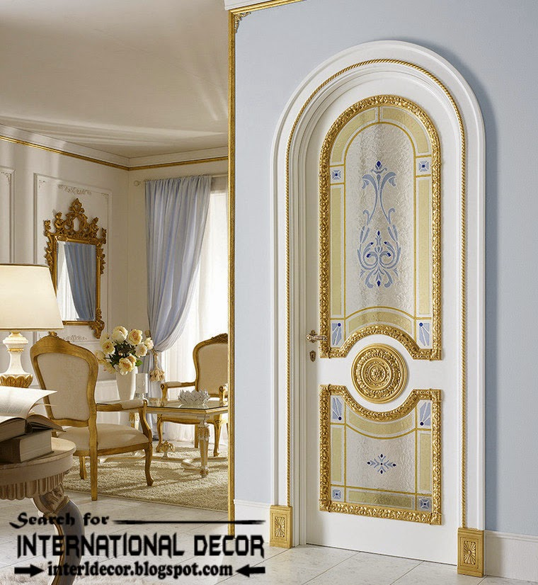 Luxury Interior Doors For Classic Interior, Luxury Italian Withe Door  Glided Decorative