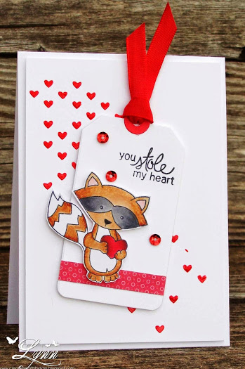 Clean and Simple Raccoon Love Card by Lynn | Stamps by Newton's Nook Designs