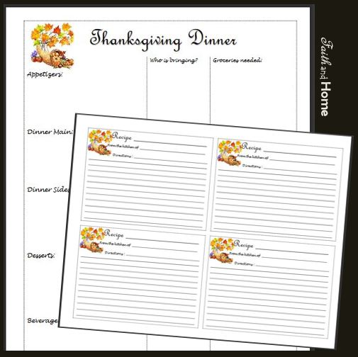 FREE Thanksgiving Dinner Organizational Printables